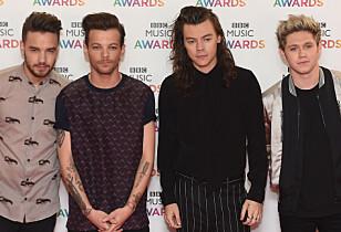 VERDENSKJENTE: Liam Payne (t.v), Louis Tomlinson, Harry Styles og Niall Horan er en del av boybandet One Direction. Foto: NTB scanpix