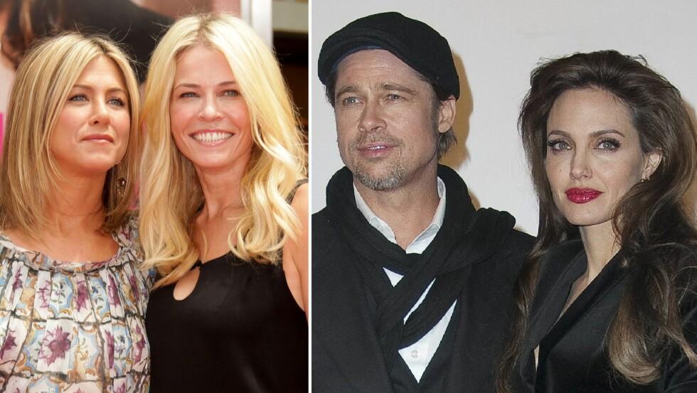 VONDT BRUDD: Etter fem år som gift gikk Brad Pitt fra sin daværende kone, Jennifer Aniston, til fordel for Angelina Jolie etter at han forelsket seg i henne på settet til «Mr. og Mrs. Smith». Foto: NTB Scanpix