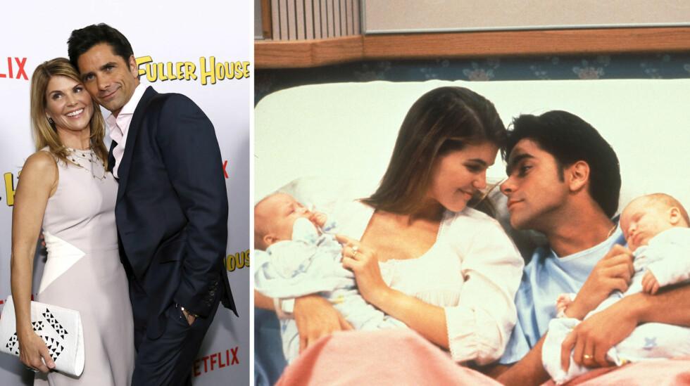 GODE VENNER: Lori Loughlin og John Stamos spilte ektepar og tvillingforeldre i «Under samme tak» (t.h). På «Fuller House»-premieren koste de seg også sammen.  Foto: Reuters/ Lorimar/ SipaUSA