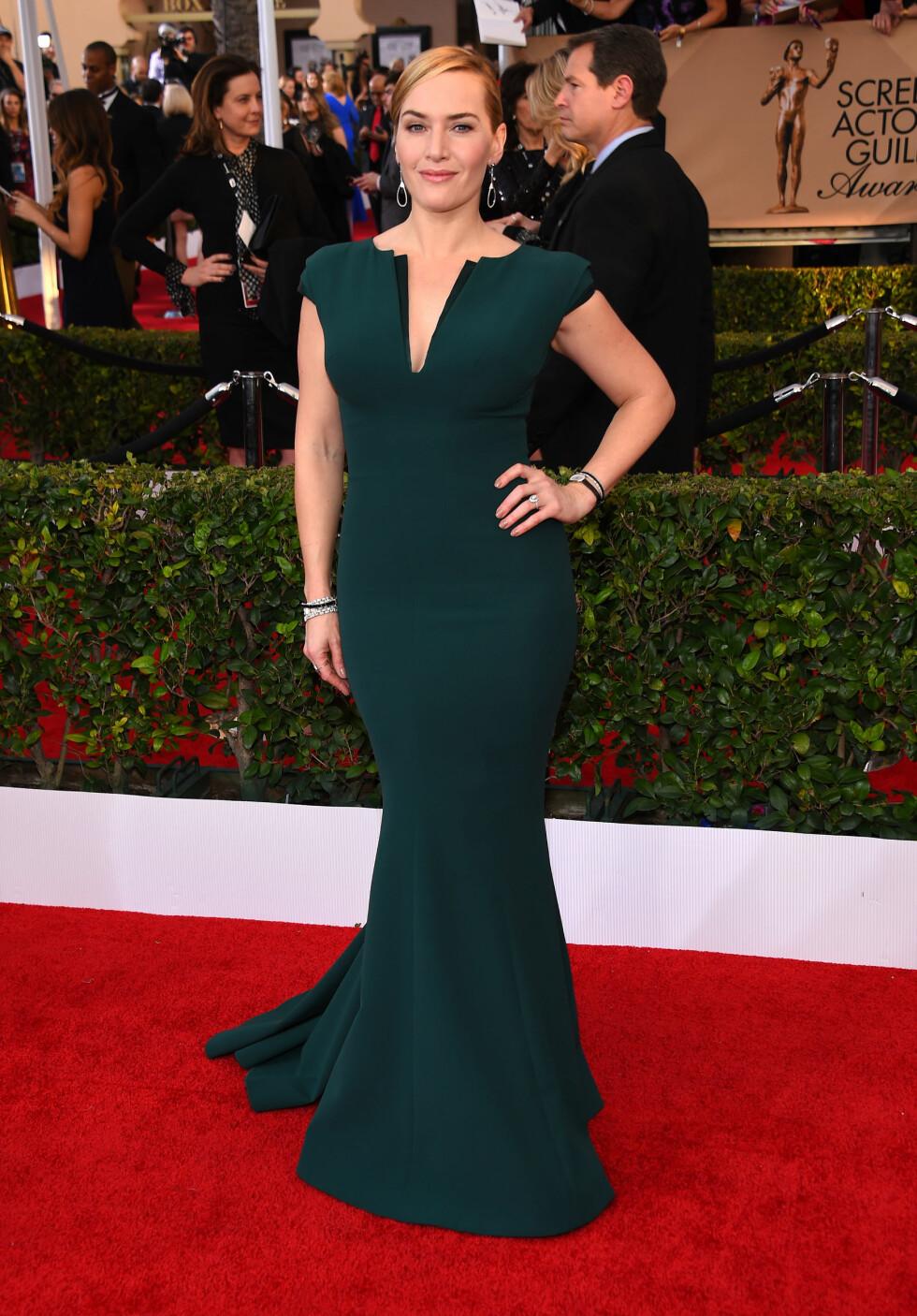 VAKKER: Kate Winslet hadde på seg en mørkgrønn kjole av merket Armani.  Foto: Pa Photos