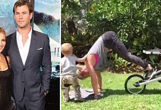 Chris Hemsworths kone holder seg i form med barnevognen