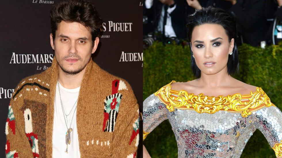 PÅ FLØRTEREN: John Mayer og Demi Lovato skal visst nok ha funnet tonen og begynt å date.   Foto:   Foto: Brian To / WENN, Doug Peters / EMPICS Entertainment / NTB Scanpix