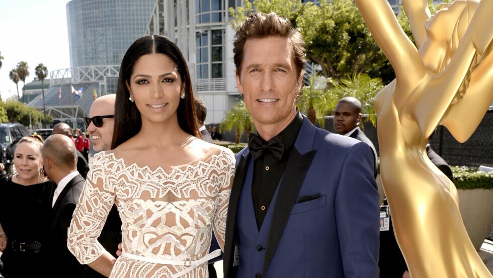 LYKKELIGE: Matthew McConaughey og Camila Alves har i dag vært kjærester i ti år og ektepar i fire.  Foto: NTB Scanpix