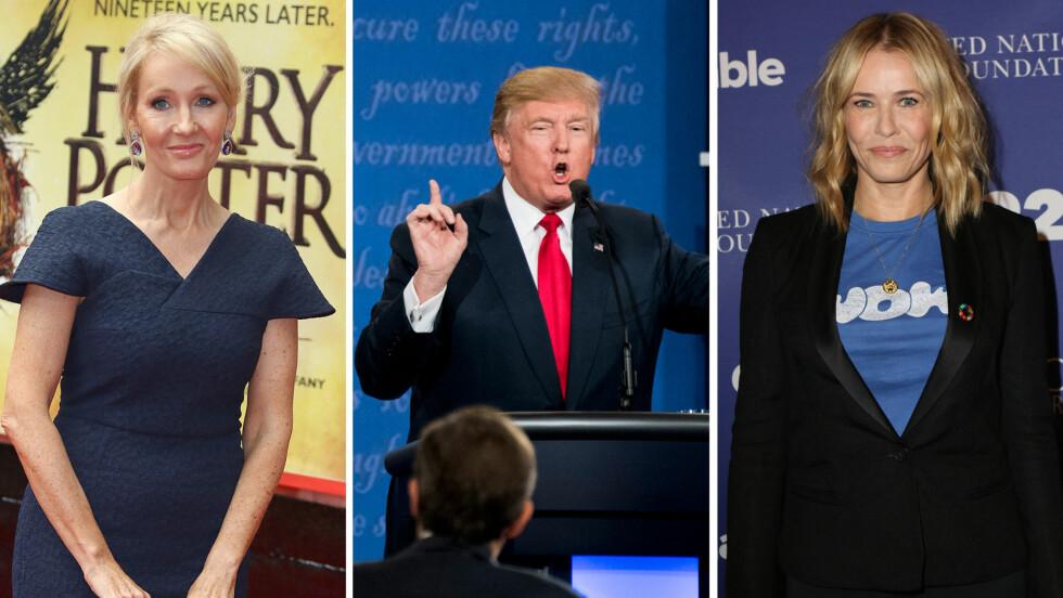 UT MOT TRUMP: «Harry Potter»-forfatter J. K. Rowling og komiker Chelsea Handler var blant de kjente personene som natt til torsdag angrep Trump på Twitter.  Foto: Zuma Press/ Sipa USA/ NTB Scanpix