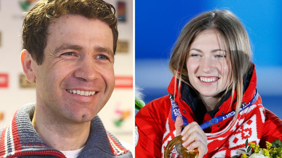 STOR LYKKE: Lørdag 1. oktober ble skiskytterparet Ole Einar Bjørndalen og Darja Domratsjeva foreldre for første gang. Den lille ble født i Domratsjevas hjemby Minsk i Hviterussland.  Foto: NTB Scanpix