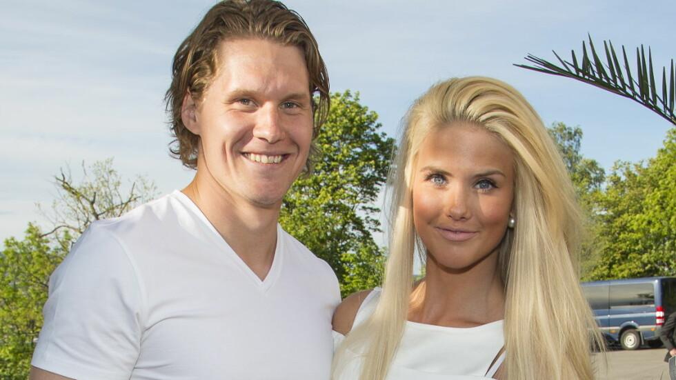 SPORTY PAR: Silje Norendal og ishockeyproffen Alexander Bonsaksen har et avstandsforhold, men nå kjøper de et felles hjem. Her på Elles sommerfest i fjor. Foto: Se og Hør, Tor Lindseth