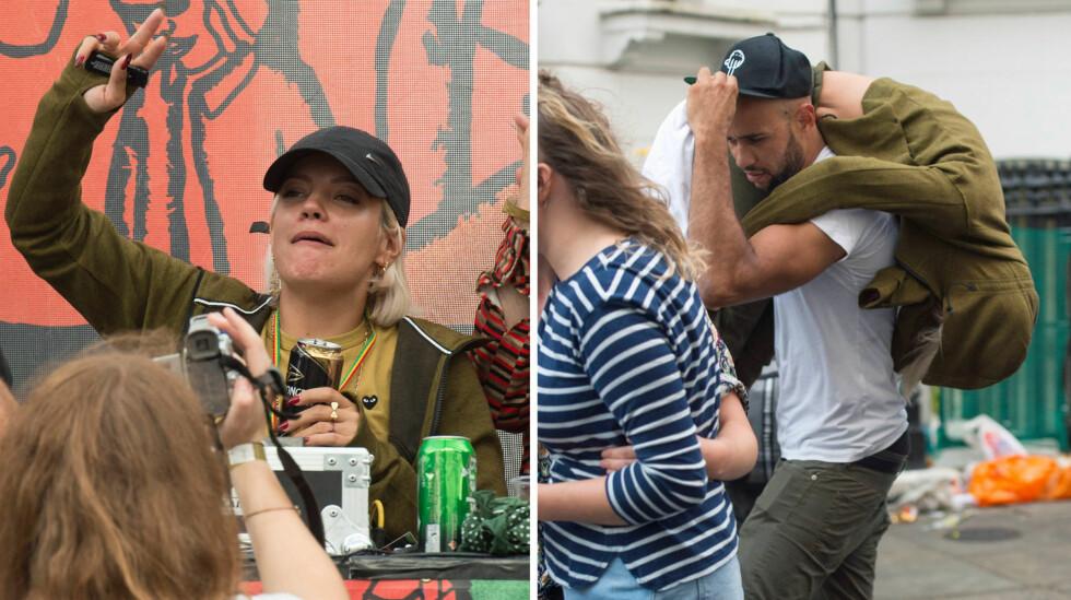 VILL FEST: Lily Allen festet vilt under Notting Hill Carnival tidligere denne uken, noe som førte til at kjæresten, Daniel Lawrence London, måtte bære henne ut.  Foto: NTB scanpix