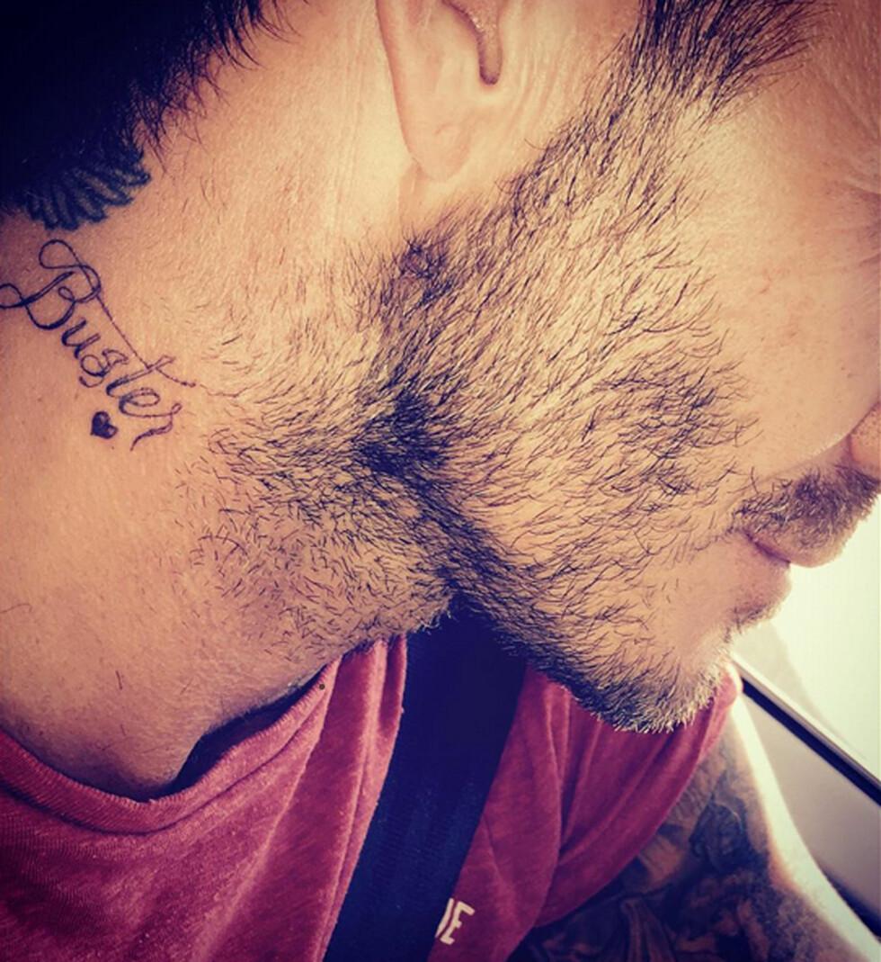 POSTET PÅ INSTAGRAM: I September i fjor tattoverte David Beckham en tattovering til ære for sønnen Brooklyn Beckham. Foto: Xposure