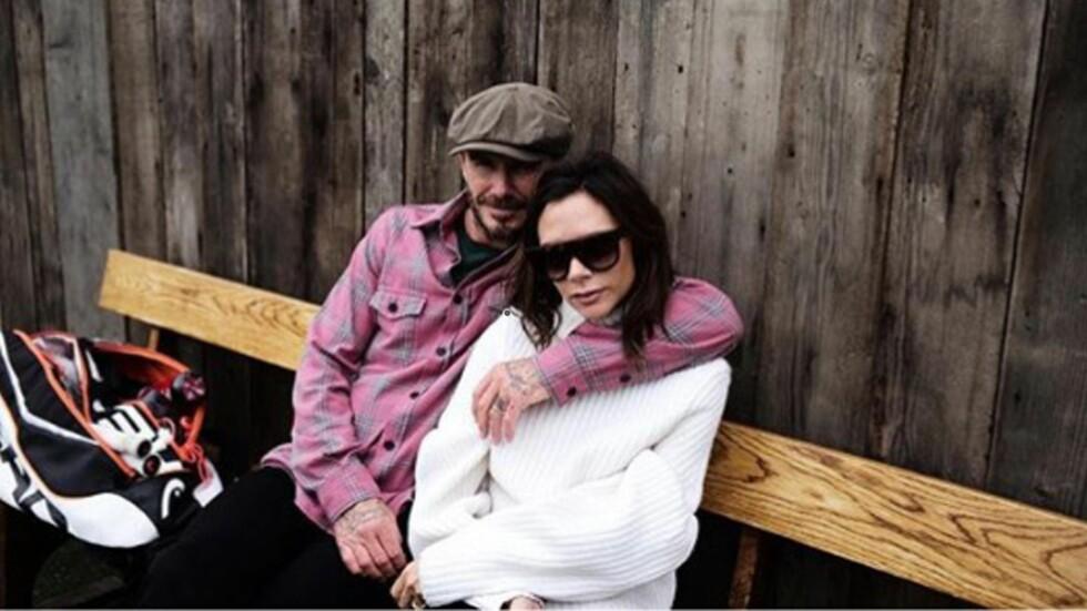 FOREVIGET AV SØNNEN: David og Victoria Beckhams eldste sønn Brooklyn er svært interessert i å fotografere og har lagt ut flere bilder av sine foreldre på Instagram. Foto: Xposure