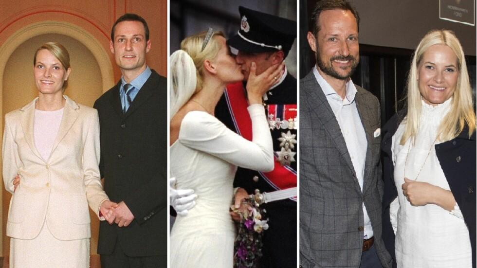 DA OG NÅ: F.v: Mette-Marit og kronprins Haakon på Slottet etter kunngjøringen om forlovelsen. Duoen kysser etter vielsen 25. august 2001. Kronprinsparet deltar sammen på et event i mars i år. Foto: Lise Åserud / SCANPIX Foto: NTB scanpix