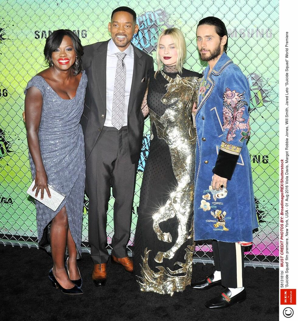 <strong>GJENGEN:</strong>  Viola Davis, Margot Robbie Jones, Will Smith og Jared Leto på Suicide Squad-premieren.  Foto: Rex Features