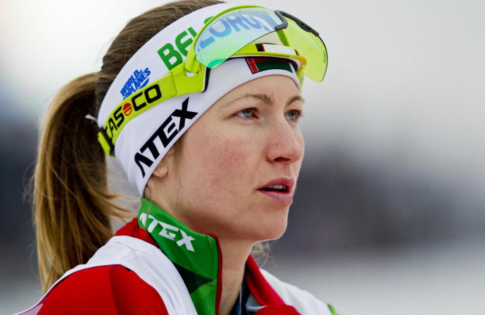 GRAVID: Skiskytter Darja Domratsjeva fra Hviterussland er gift med Ole Einar Bjørndalen og blir mor for første gang til høsten. Dette bildet er tatt under innskyting før kvinnenes 10 km jaktstart i verdenscupen i skiskyting i Holmenkollen i 2014. Foto: NTB Scanpix