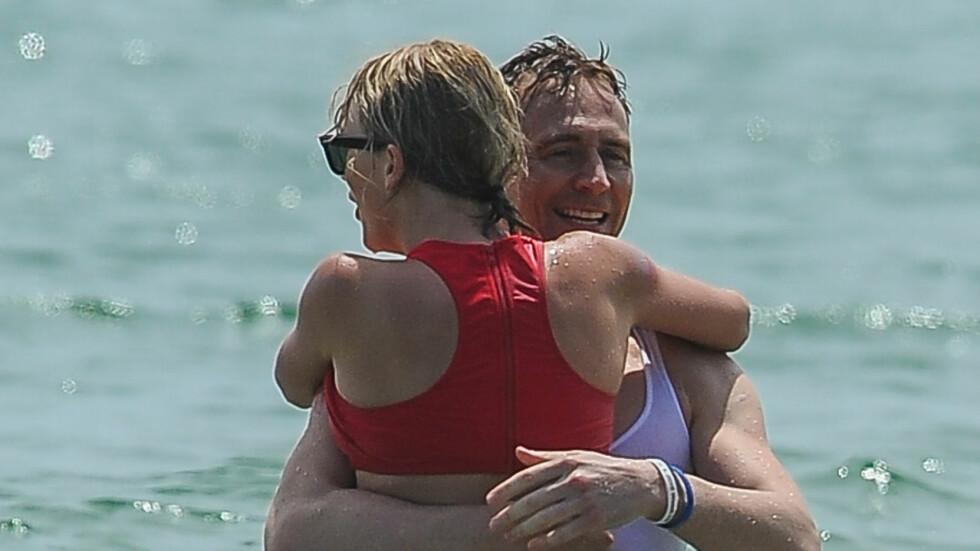 STØTTESPILLER: Tom Hiddleston skal være en viktig støtte for Taylor Swift i hennes tunge tid. Her er de sammen i forbindelse med årets 4. juli feiring i USA. Foto: (c) AKM-GSI / Bulls