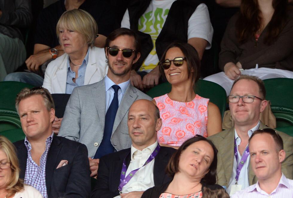 NYFORLOVET: Ifølge Daily Mail og en rekke andre medier ble James Matthews og Pippa Middleton forlovet tidligere i juli. Her er de sammen under Wimbledon 2016 i starten av måneden. Foto: Pa Photos