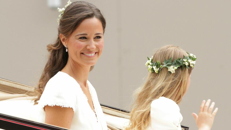 SKAL STÅ BRUD: I storesøster Kates bryllup for fem år siden vekket Pippa Middleton oppsikt i den sexy, hvite brudepikekjolen sin. Nå kan hun glede seg til å virkelig spille hovedrollen i sitt eget bryllup.  Foto: Pa Photos