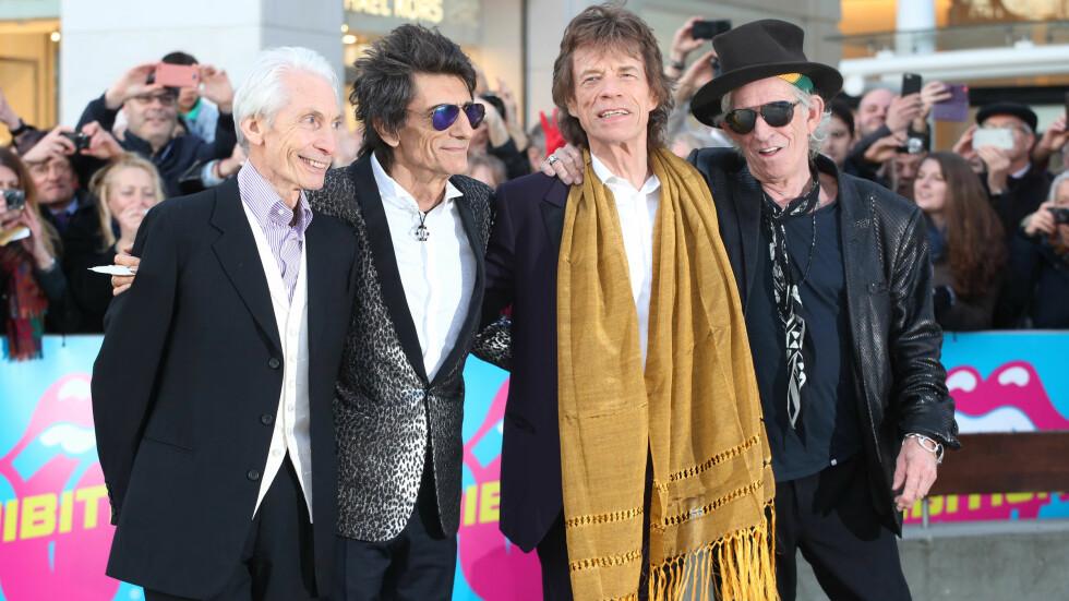 LEVER FORTSATT ROCK'N ROLL-LIVET: The Rolling Stones-medlemmene (f.v) Charlie Watts (75), Ronnie Wood (69), Mick Jagger (72) og Keith Richards (72) er fortsatt spreke og glad i det gode liv. I vår ble Wood tvillingpappa, og neste år er Jagger klar for bleieskift igjen. Foto: wenn.com