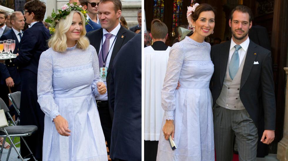 MOTEPRINSESSER: Kronprinsesse Mette-Marit og prinsesse Claire dukket opp med samme kjole fra klesmerket Vilshenko samme dag. Kjolen koster rundt 8000 norske kroner.  Foto: NTB scanpix