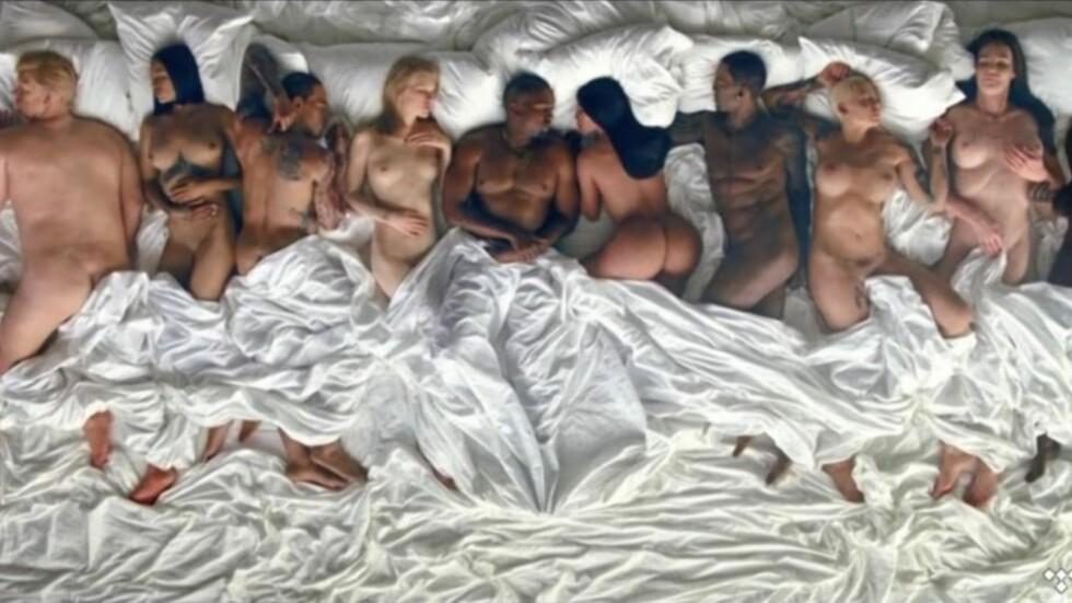 VOKSDUKKER?: George W. Bush, Anna Wintour, Donald Trump, Rihanna, Chris Brown, Taylor Swift, Kim Kardashian, Ray J, Amber Rose, Caitlyn Jenner og Bill Cosby deler seng med Kanye West i hans siste musikkvideo. Foto: Tidal / Complex Music