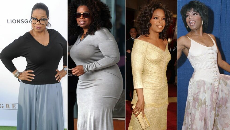 OPP OG NED I VEKT: (F.v.) Oprah Winfrey viste gladelig fram sin nye figur under premieren av sin nye TV-serie «Greenleaf» sist uke. Bilde nummer to (i grå kjole) er tatt i fjor vår og kort tid etterpå valgte Oprah å delta i Weight Watchers-programmet. Bilde nummer tre er tatt under Oscar-utdelingen i 2005, mens bilde nummer fire er fra Emmy Awards i 1994. Foto: NTB scanpix