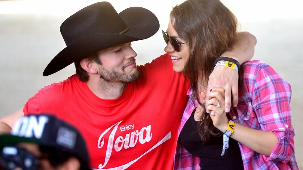 BABYLYKKE: Ashton Kutcher og Mila Kunis utvider familien. Foto: Afp
