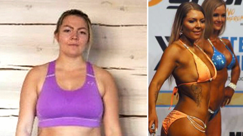 SA STOPP: Til venstre er Linda Eline rett før hun satte seg som mål og endre livsstilen. Hun våget ikke å starte hardtreningen før tre måneder etter fødselen. På det meste veide hun 94 kilo. Foto: Privat