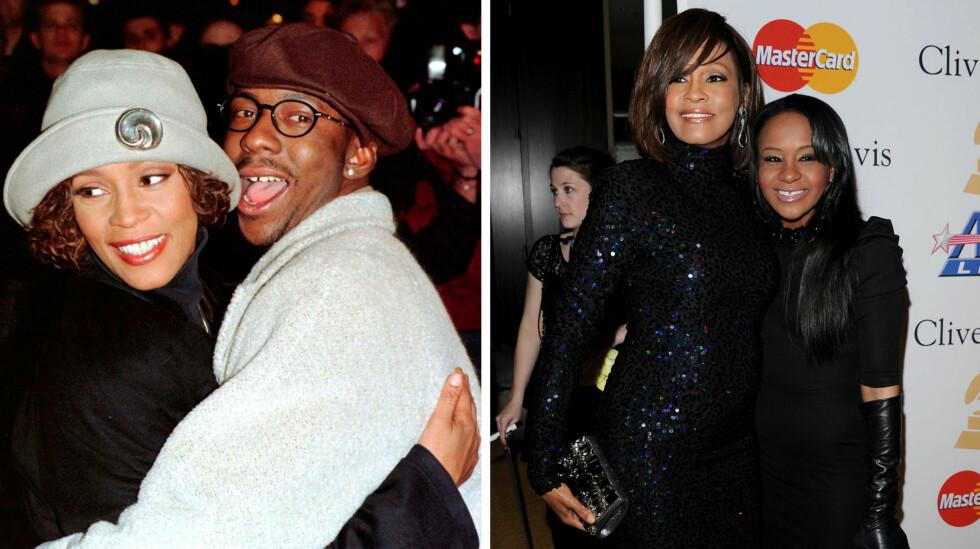 <strong>SLET MED SAMME PROBLEM:</strong> Bobby Brown og Whitney Houston slet begge med rusmisbruk da de var et par. Det samme gjorde datteren Bobbi Kristina.  Foto: NTB scanpix