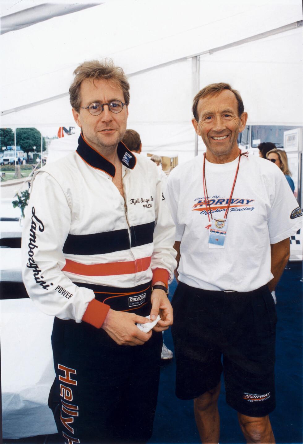 STØTTESTPILLER: Her er Normann og Kjell Inge Røkke sammen i forbindelse med Røkkes karriere som offshore-kjører. Foto: Se og Hør