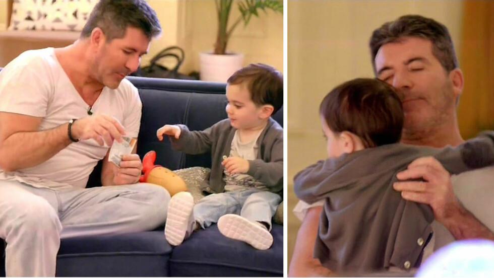 ENTUSIASTISK PAPPA: «America´s Got Talent»-dommer Simon Cowell koste seg med sønnen Eric på jobb nylig. Far og sønn lekte sammen backstage, og den beryktede TV-dommeren gav toåringen sin en god klem. Foto: NTB Scanpix