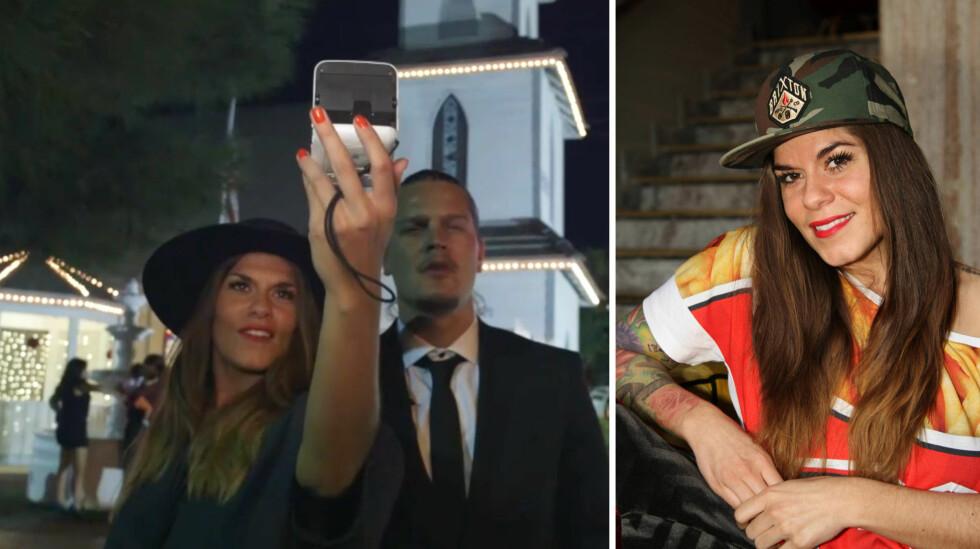 VILLE HA DET SERIØST: I fjor høst overrasket «Paradise Hotel»-paret Kristin Gjelsvik og Dennis Poppe Thorsen med et spontant bryllup i TV3 Play-programmet «Det Beste Vorspielet» (t.v). Nå er «Bloggerne»-profil Kristin klar for å stå hvit brud på ordentlig.  Foto: TV3/ Curt Hjertstedt, Seoghør.no