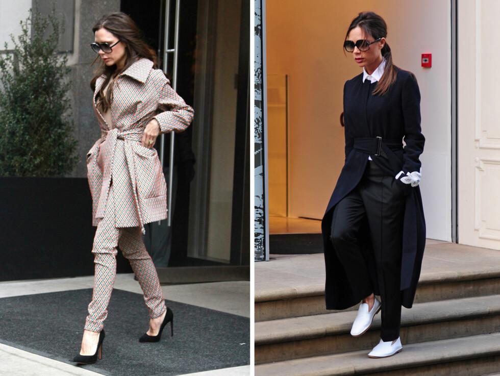 FIKK PROBLEMER: Victoria Beckham fortalte tidligere i år at hun har måttet kutte ned på bruken av høye hæler. Her er hun iført henholdsvis høye og lave sko ved to anledninger i februar. Foto: NTB Scanpix