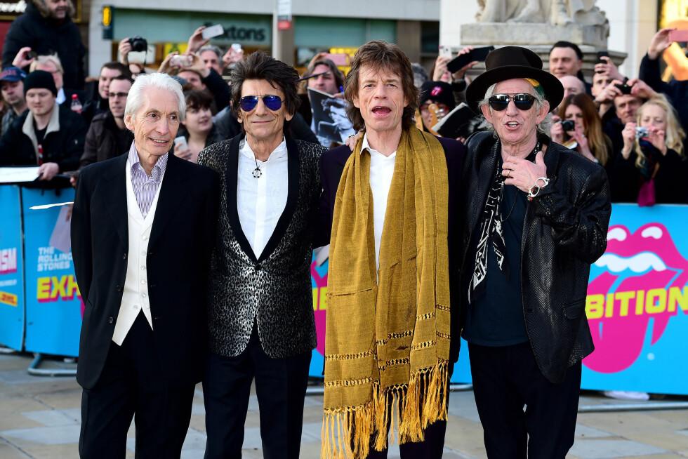 LEGENDARISKE: Ronnie Wood (nr. to fra venstre) er kjent fra rockebandet Rolling Stones. Her sammen med Charlie Watts, Mick Jagger og Keith Richards.  Foto: Pa Photos