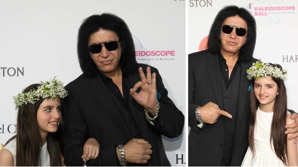 STOR FAN: Selv om Gene Simmons fortsatt er mer berømt enn norske Angelina Jordan, gjorde Kiss-legenden sitt for at oppmerksomheten skulle være på tiåringen på Kaleidoscope Ball-løperen i helgen. Foto: NTB Scanpix