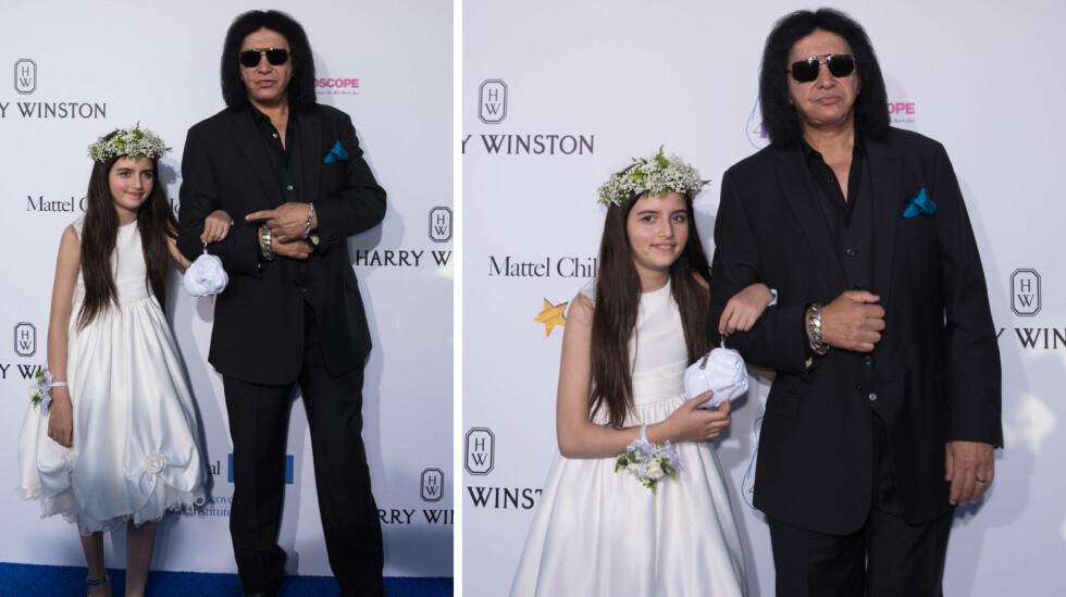 OVERRASKET PÅ RØD LØPER: Norske Angelina Jordan dukket opp på veldedighetsgallaen Kaleidoscope Ball utenfor L.A. denne helgen. Tiåringen kom arm i arm med Kiss-legenden Gene Simmons! Foto: NTB Scanpix