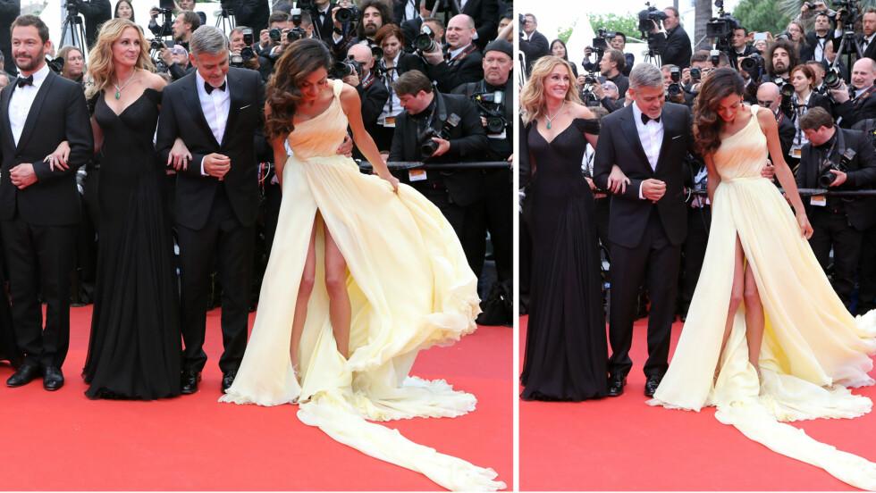 <strong>KJOLEGLIPP:</strong> Den lekre Atelier Versace-kjolen til Amal Clooney sørget nesten for at hun viste trusa under sin debut på Cannes-løperen torsdag kveld. Ektemannen George Clooney og hans «Money Monster»-motspillere Dominic West og Julia Roberts så ut til å ta kjoletrøbbelet med et smil.  Foto: NTB Scanpix