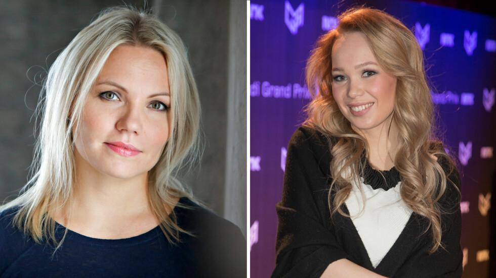 STØTTER AGNETE: Artist Lene Marlin skrev torsdag et åpenhjertig innlegg rettet mot Norges Eurovision-håp Agnete Johnsen (t.h).  Foto: NTB scanpix