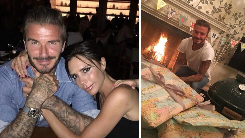 FEIRET FØDSELSDAGEN: Mandag 2. mai ble David Beckham 41 år gammel. Det markerte kona Victoria (t.v) med offentlige kjærlighetserklæringer og et skikkelig gavedryss - som inkluderte en kulegrill! Foto: Xposure/ NTB Scanpix/ Skjermdump fra Instagram