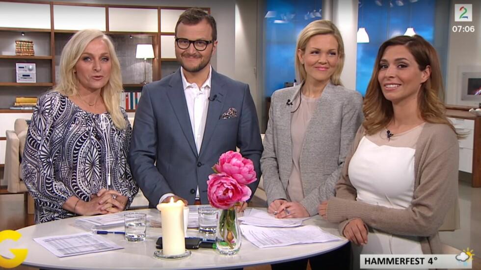 OVERRASKET SEERNE: Da Isabella Martinsen (ytterst t.h) gjestet kollegene i «God morgen Norge»-studioet tirsdag morgen for å melde været, røpet hun for TV-seerne at hun venter sitt andre barn. Foto: Skjermdump fra TV 2