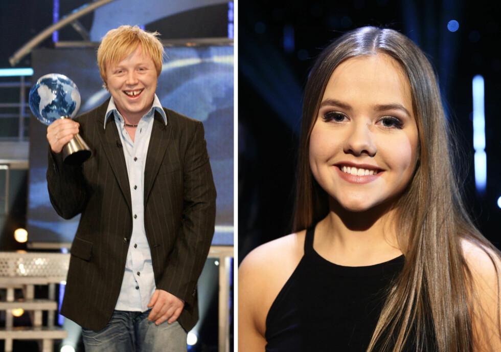 FØR OG NÅ: I den første norske «Idol»-sesongen i 2003 gikk Kurt Nilsen til topps, 24 år gammel. Samme år vant han også «World Idol» (t.v). I år er Ingeborg Fosse (t.h) den yngste blant de åtte gjenværende finalistene, der gjennomsnittsalderen er knappe 17 år.  Foto: NTB Scanpix/ Thomas Reisæter, TV 2