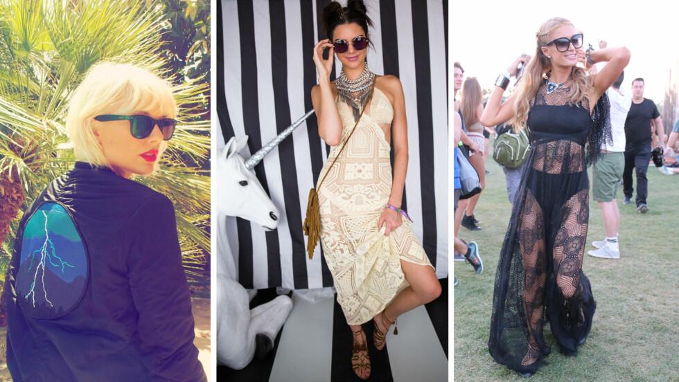 KULE CELEBRITETER: Taylor Swift, Kendall Jenner og Paris Hilton er bare et lite knippe av stjernene som har kastet glans over åpningshelgen til Coachella 2016 i California. Legg merke til Kendalls 90-tallsinspirerte frisyre og gjennomsiktige kjole! Foto: Skjermdump fra Instagram/ NTB Scanpix