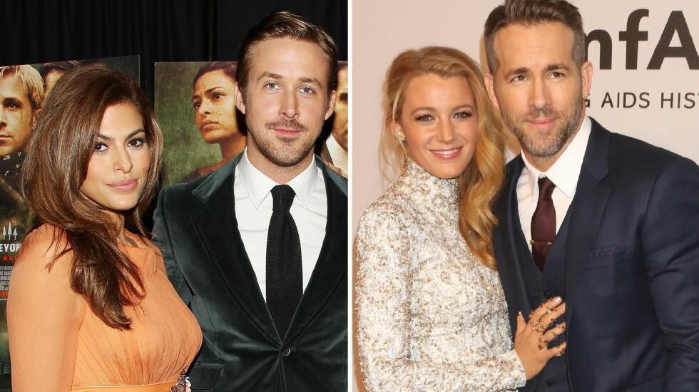 VENTER BARN: Både Eva Mendes og Ryan Gosling, samt Blake Lively og Ryan Reynolds skal være i lykkelige omstendigheter. Foto: ALL OVER PRESS/NTB Scanpix