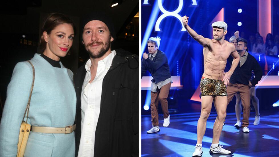 VELDIG VELTRENT: Thomas Gullestad viste muskler under «Mitt Dansecrew»-finalen på TV 2 våren 2015 (t.h). Kona Jenny Skavlan foretrekker ham litt rundere i kantene.