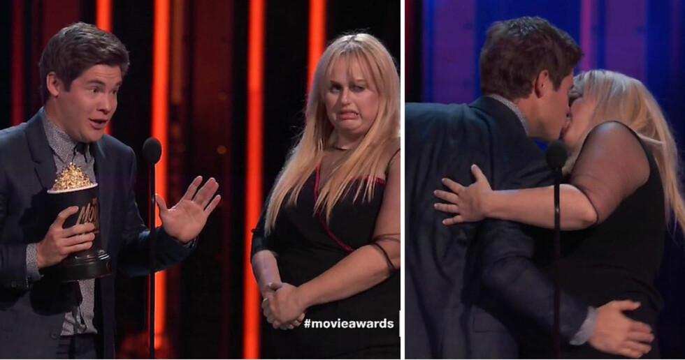 <strong>SPØKEFULL DUO:</strong> Adam DeVine og Rebel Wilson lot begge som om de syntes den andre var frastøtende, før de plutselig kastet seg over hverandre på MTV Movie Awards-scenen. Foto: NTB Scanpix