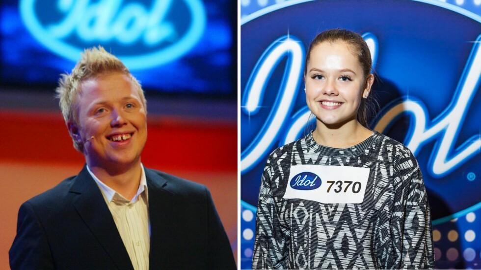 UNG FINALIST: Ingeborg Fosse fra Bergen er blant årets ti «Idol»-finalister, selv om hun var under nedre aldersgrense da hun meldte seg på. Hun var knapt tre år gammel da Kurt Nilsen vant «Idol»-finalen i 2003 (t.v). Foto: NTB Scanpix/ Endre Forbord, TV 2