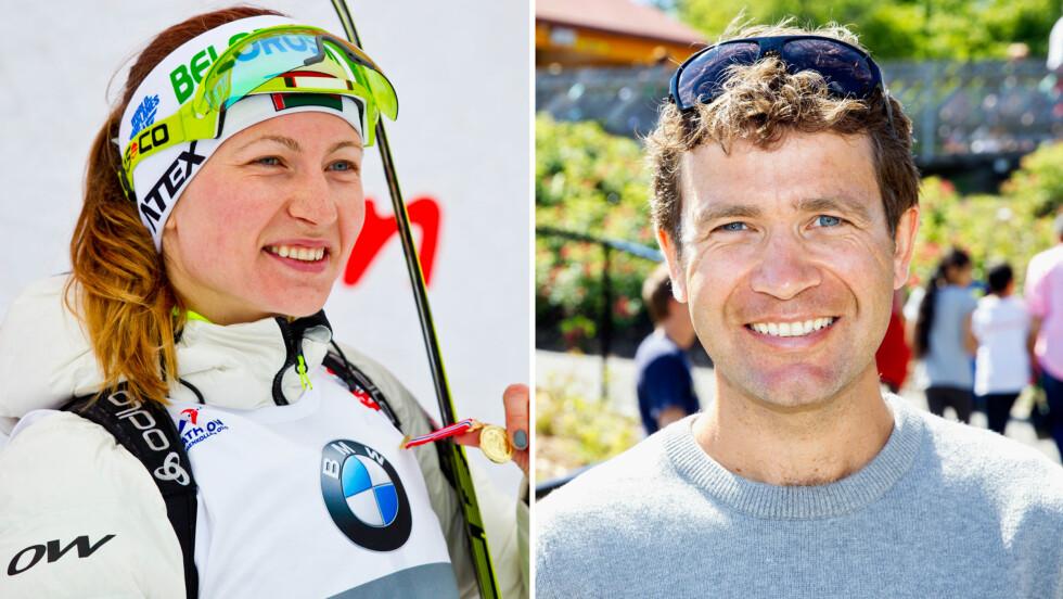 LYKKELIG: Darja Domratsjeva skal ha barn med Ole Einar Bjørndalen. Det betyr en lengre pause fra skiskytingen. Foto: Scanpix/Andreas Fadum, Se og Hør