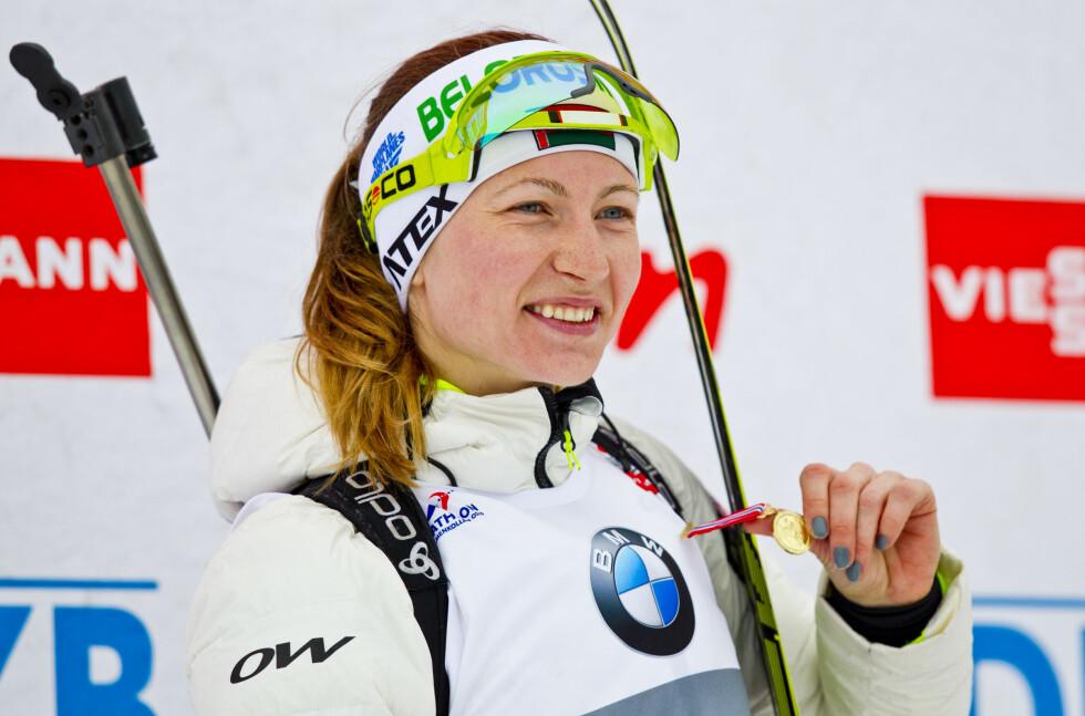 SKISKYTTERSTJERNE: Darja Domratsjeva er en av de beste kvinnelige skiskytterne i verden og har blant annet tre OL-gull på merittlisten. Foto: NTB scanpix