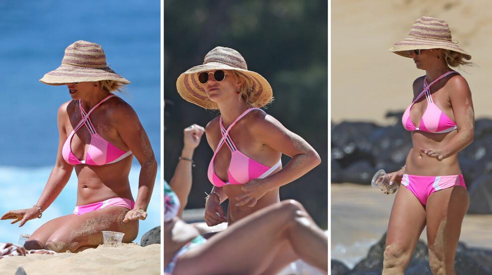 STRÅLTE PÅ STRANDEN: Britney ble nylig beskyldt for å manipulere et bikinibilde av seg selv, men på stranden på Hawaii torsdag tok hun seg flott ut på helt naturlig vis.  Foto: Splash News/ NTB Scanpix