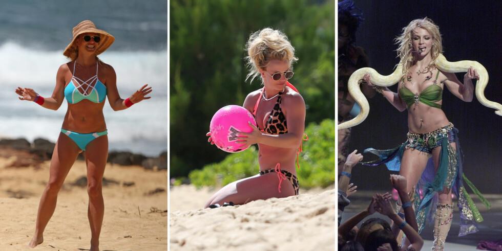 SPREK: På starten av 2000-tallet var Britney Spears kjent for sin svært veltrente mage (ytterst t.h). De siste dagene har tobarnsmoren vist at hun er i like god form som hun var på MTV Video Music Awards i 2001. Foto: Splash News/ NTB Scanpix