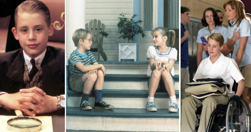 <strong>VELSTELT:</strong> I filmer som (f.v) «Alene hjemme», «My Girl» og «Saved!», var rollefigurene til Macaulay Culkin temmelig velfriserte. Hvis stjernen i dag ønsker å holde en lav profil, er sikkert de lange lokkene et smart trekk.  Foto: NTB Scanpix