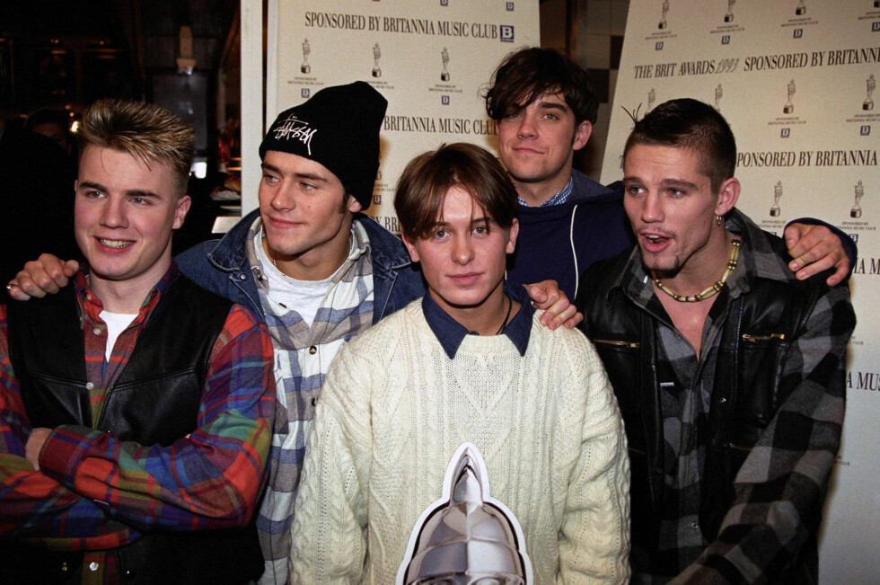 POPULÆRE: Bildet av Take That ble tatt i 1993 - tre år etter de ble dannet og tre år før bandet ble oppløst.  Foto: Pa Photos