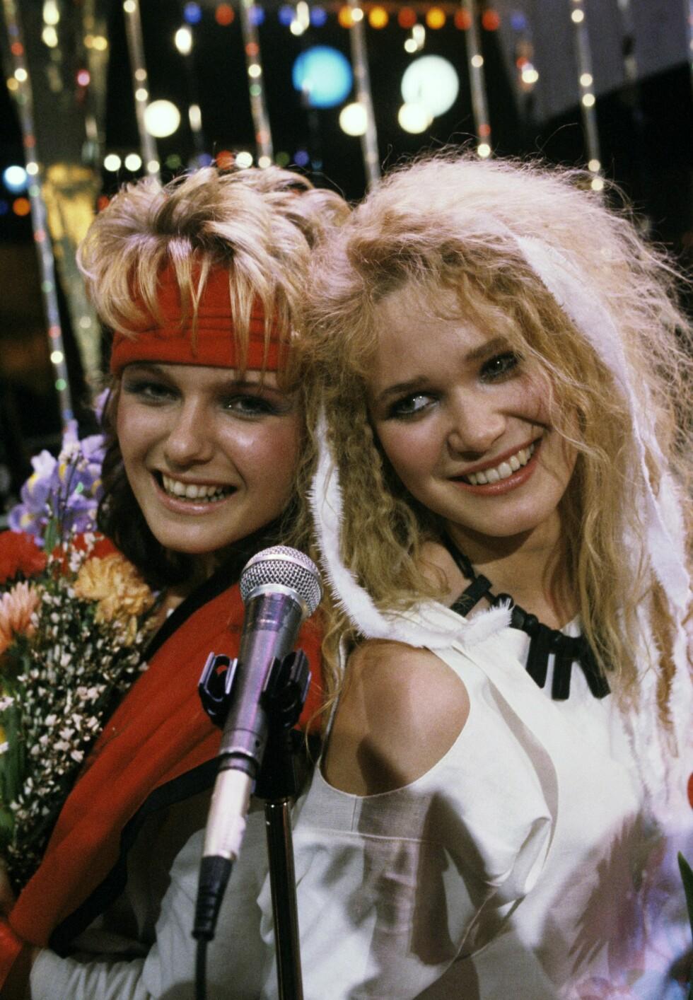 BEGYNNELSEN: Slik så Benedicte Adrian og Ingrid Bjørnov ut som duoen «Dollie de Luxe». Her er de avbildet i 1986.   ***FOTO IKKE BILDEBEHANDLET*** Foto: Aftenposten